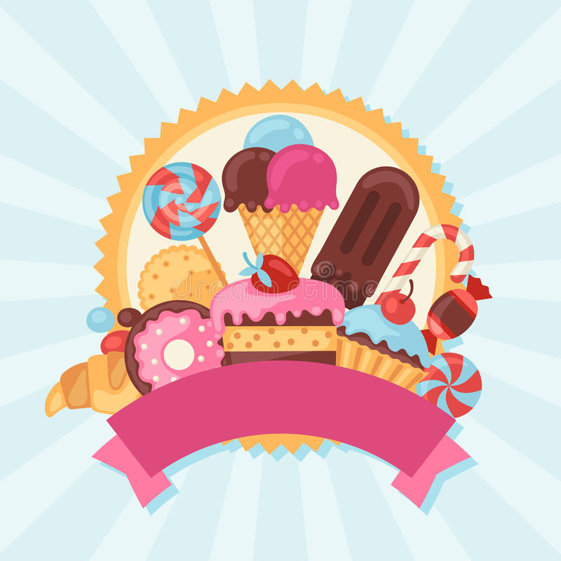 background with colorful candy sweets and cakes stock