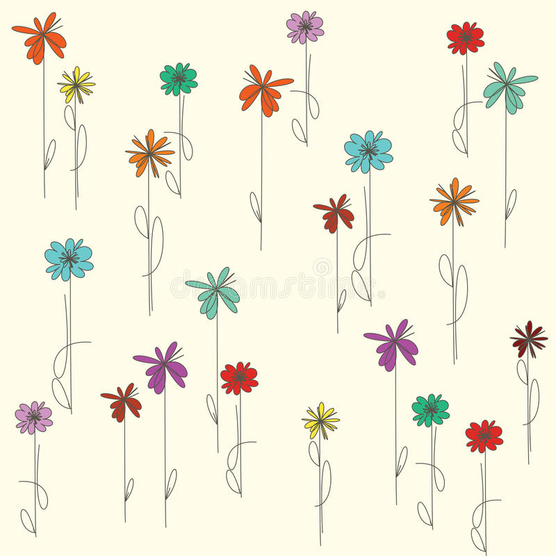 Background with colorful flowers stock illustration