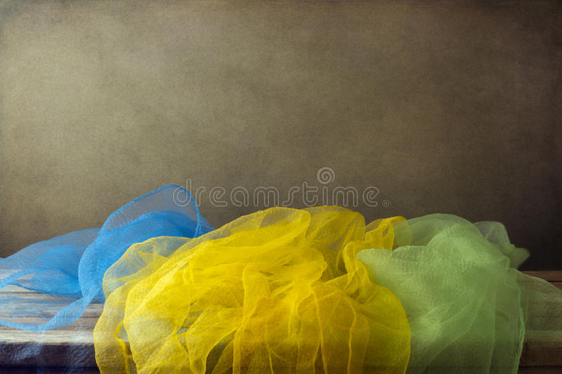 Background with colorful gauze scarf