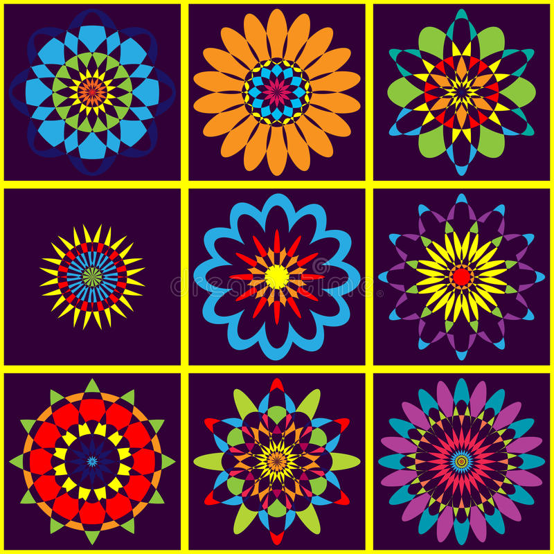 Background colorful geometric pattern of flowers. Bright oriental colors stock images