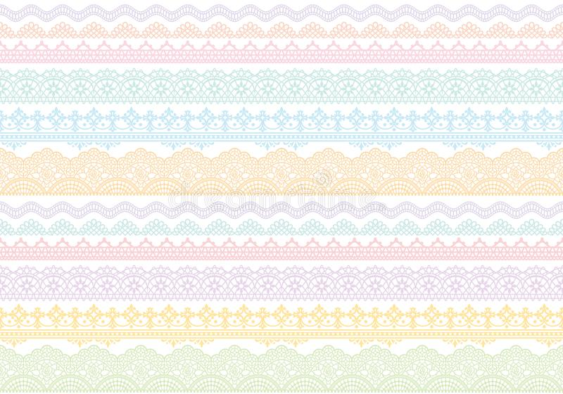 Background of colorful lace trims. stock illustration