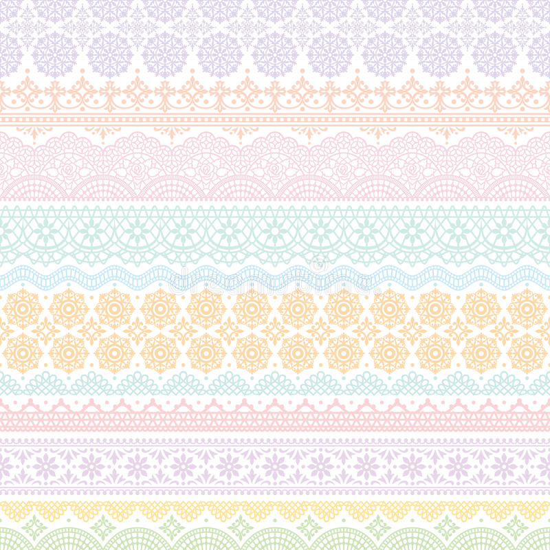 Background of colorful lace trims. vector illustration