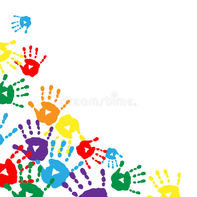 Download Background With Colorful Prints Of Children's Palms Stock Vector - Illustration of design, handprint: 46006030