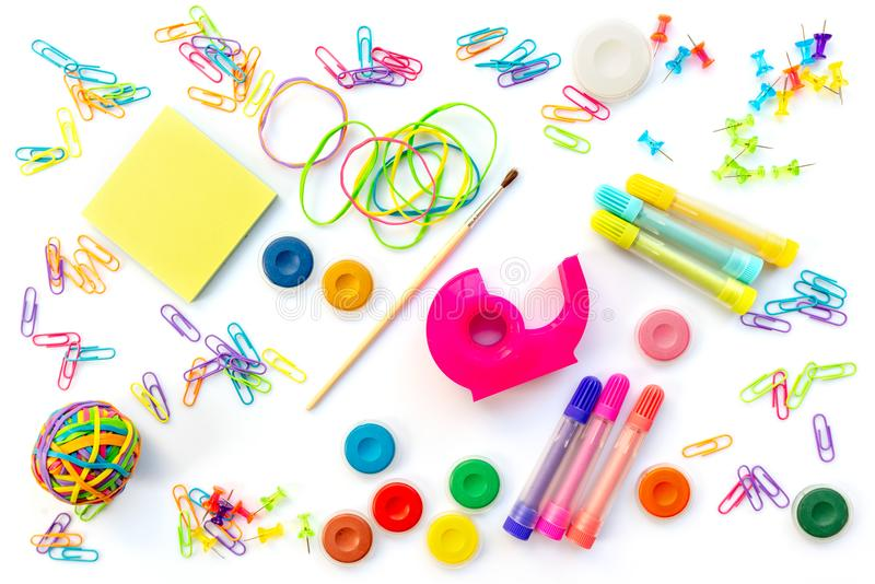 Background of colorful school supplies isolated on white Back to school concept stock image