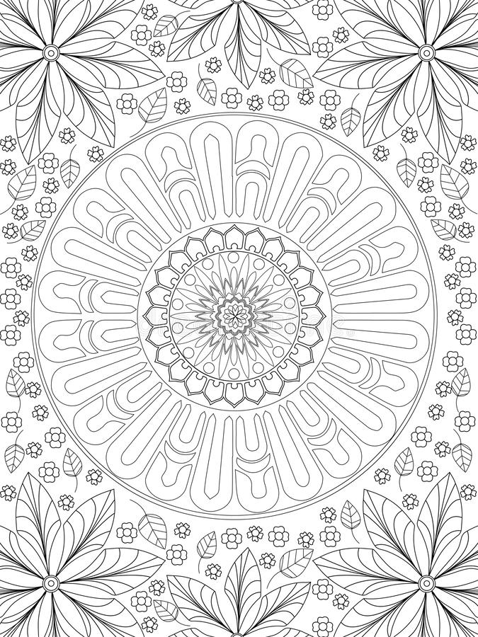 Background coloring antistress, drawings black lines and white background. Nature, flowers raster. Background coloring antistress, drawings black lines and white vector illustration