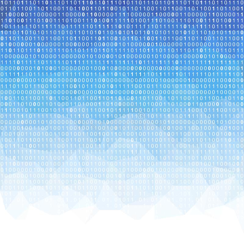 Digital technology polygon wallpaper with falling binary code. royalty free illustration
