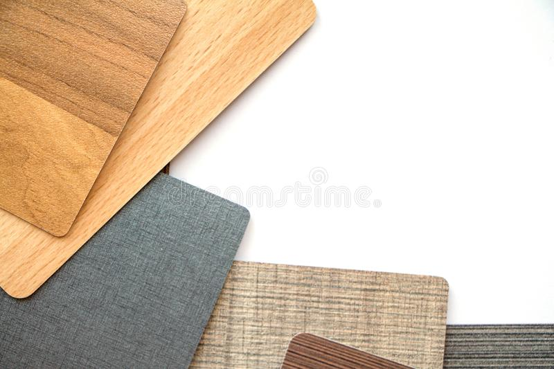 Background or concept of multi-colored cards in gray and brown tones and different textures isolate on a white background. Copy space royalty free stock image
