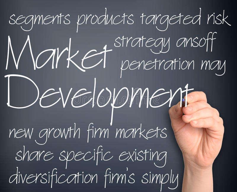 Background concept wordcloud illustration of new market development. Business concept wordcloud illustration of market development royalty free stock image