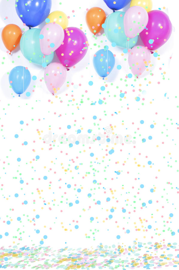 Background with confetti and balloons. For carneval royalty free stock photo