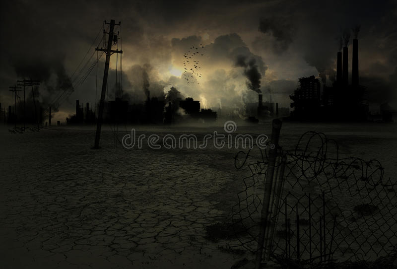 Background contaminated industrial city royalty free stock image