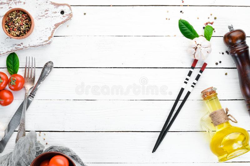 The background of cooking. Kitchen wooden board. Top view. Free space for your text royalty free stock images