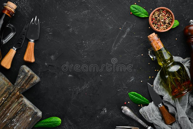 The background of cooking. Kitchen wooden board. Top view. Free space for your text stock photos