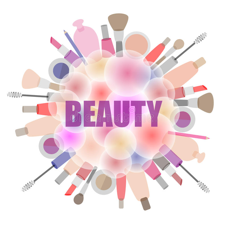Background with cosmetics and beauty products. Background with cosmetics and beauty products, the emblem for beauty salons and stores