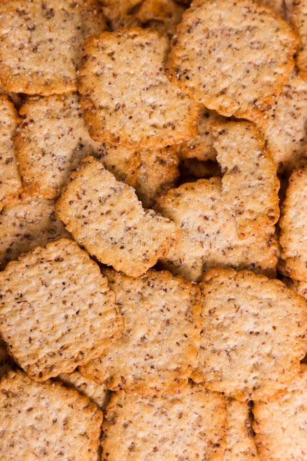 Background of crunchy biscuits. With sugar stock photos