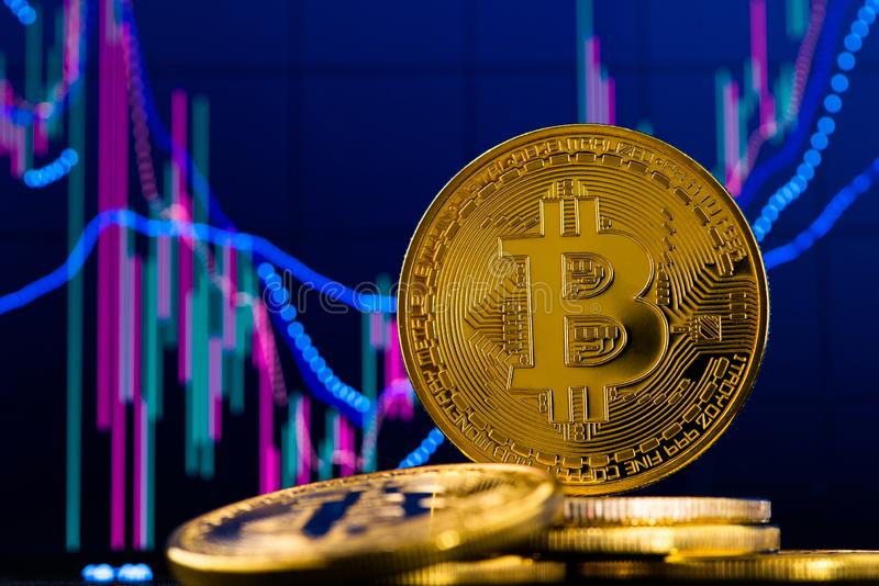 Background with cryptocurrency bitcoin and candlestick stock chart graph. royalty free stock images