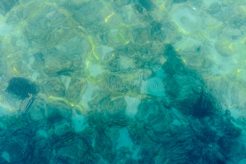 Background of crystalline turquoise blue shallow sea water. royalty free stock image