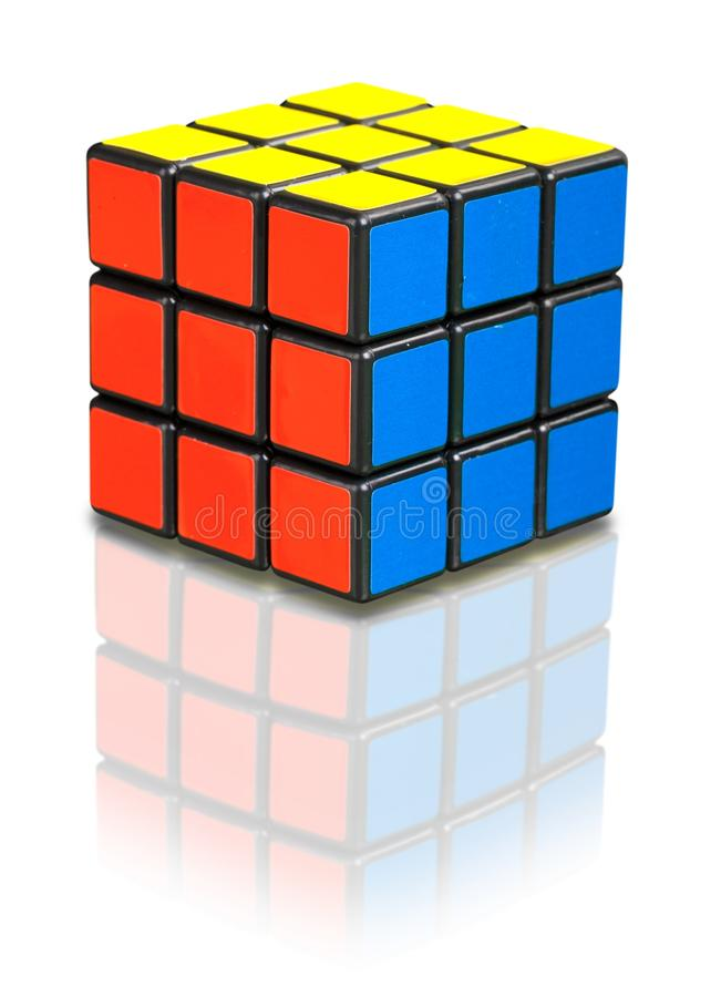 KHERSON, UKRAINE - JULY 17, 2014: Rubik`s cube on. Background cube rubik game leisure green color royalty free stock photography