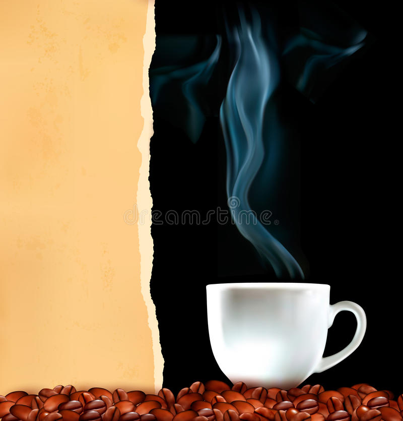 Background with cup of coffee and old ripped paper vector illustration