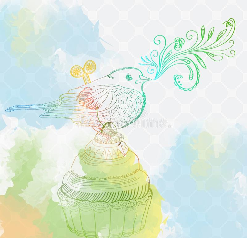 Download Background With Cupcake And Bird Stock Image - Image: 24699455