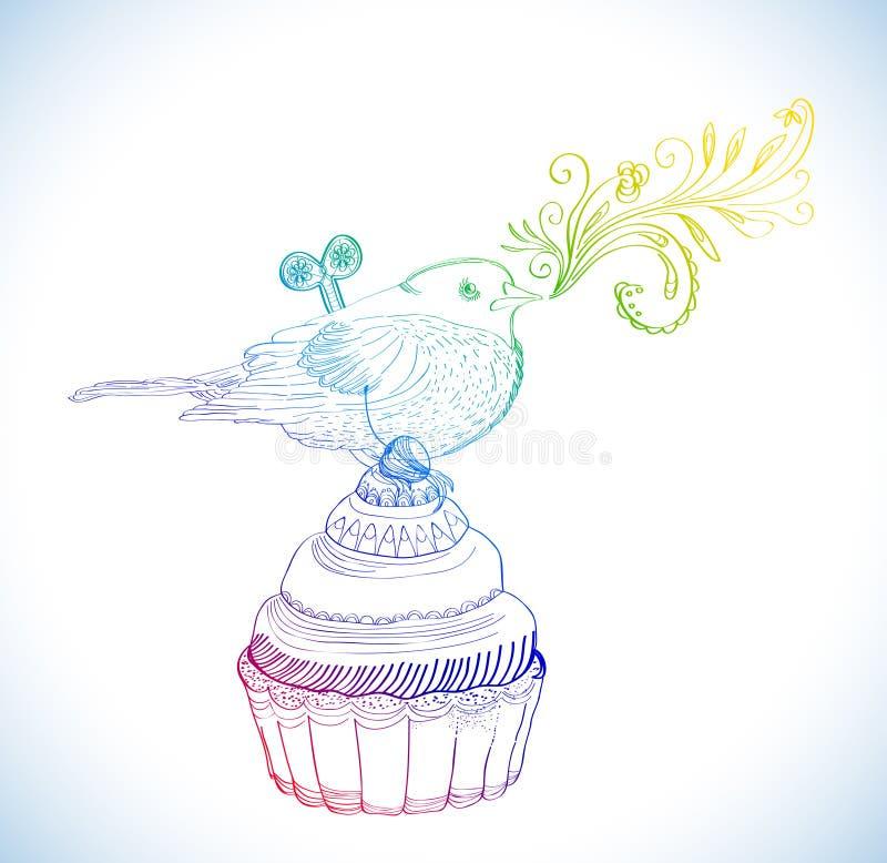 Background with cupcake and clockwork bird