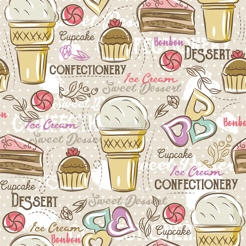 Background with cupcake, ice cream, cake and cookie, vector. Ideal for printing onto fabric and paper or scrap booking royalty free illustration