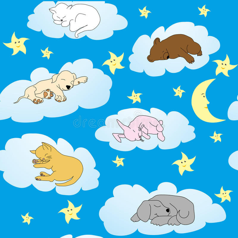 Background with cute animals sleeping stock illustration