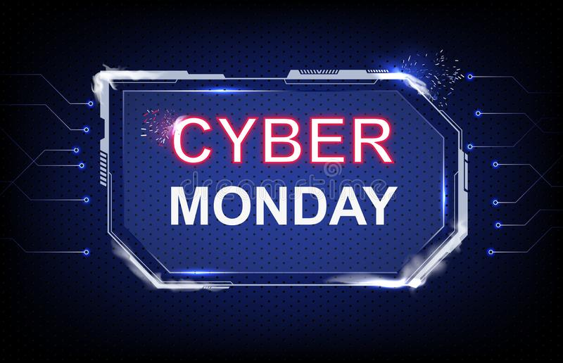 Background Cyber Monday Sale with futuristic hud sci-fi and connection line royalty free stock image