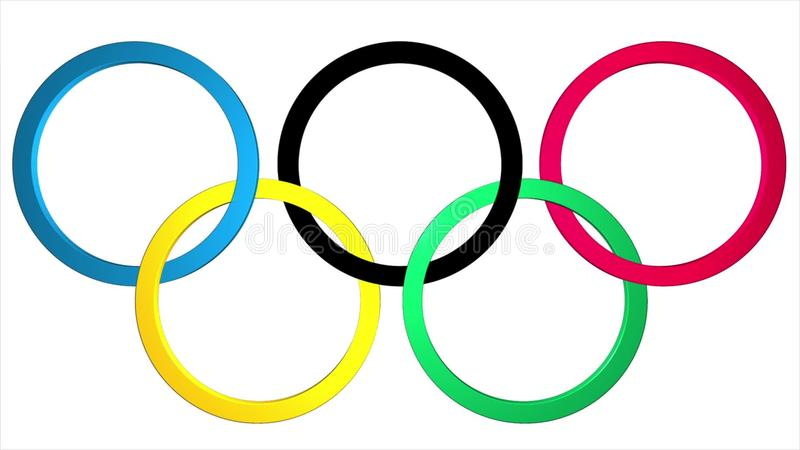 Background With The 3d Olympic Rings With The Emergence And Fading