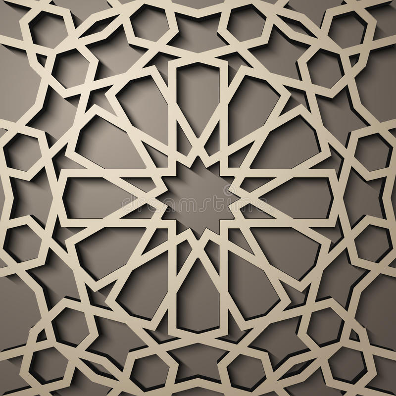 Background with 3d seamless pattern in Islamic style . , arabic geometric east ornament , persian motif . Background with 3d seamless pattern in Islamic style royalty free illustration