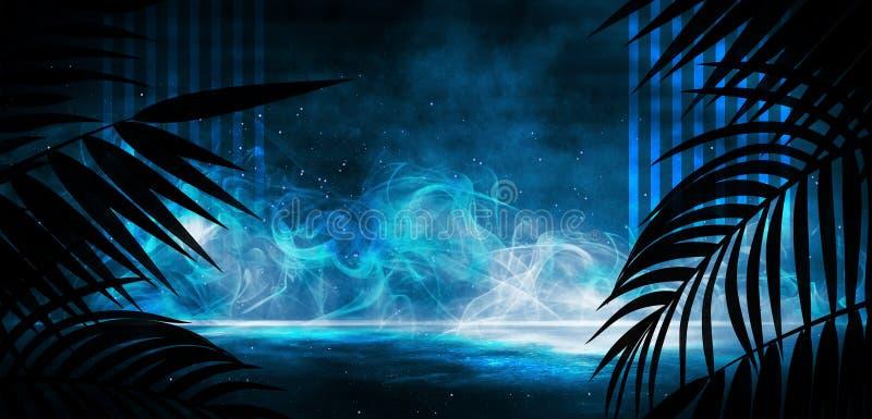 Background of the dark room, tunnel, corridor, neon light, lamps, tropical leaves. stock illustration