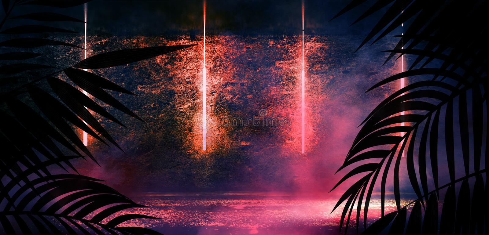 Background of the dark room, tunnel, corridor, neon light, lamps, tropical leaves. Abstract background with new light stock photos