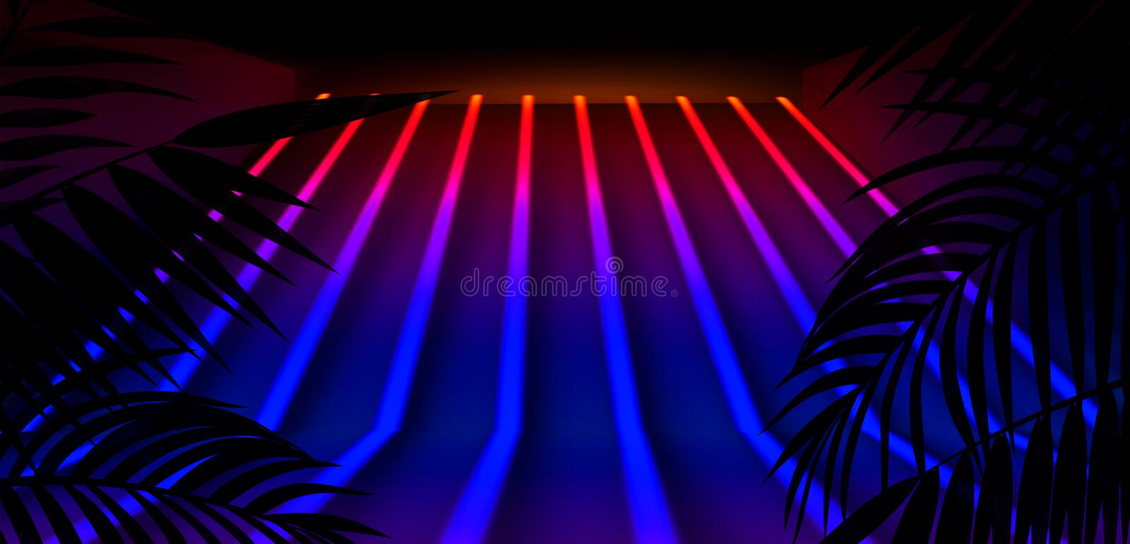 Background of the dark room, tunnel, corridor, neon light, lamps, tropical leaves. royalty free illustration