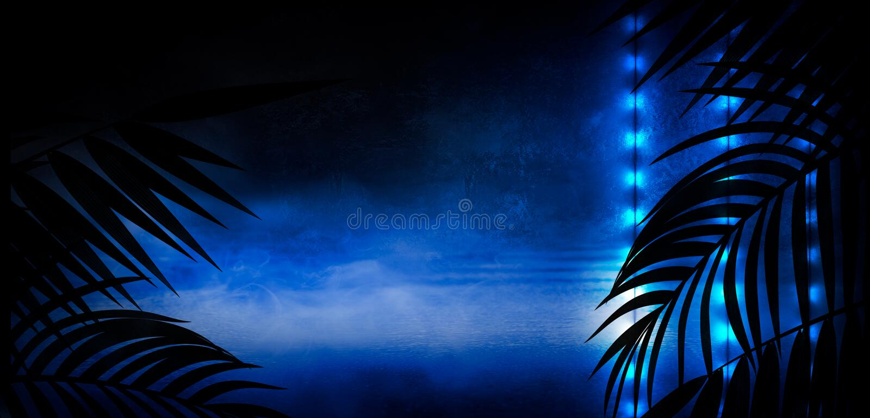Background of the dark room, tunnel, corridor, neon light, lamps, tropical leaves. vector illustration