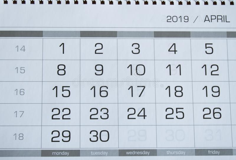 Background dates on the calendar page April 2019.  royalty free stock photography