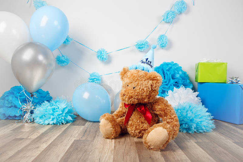 Background decoration for first year birthday celebration stock photography
