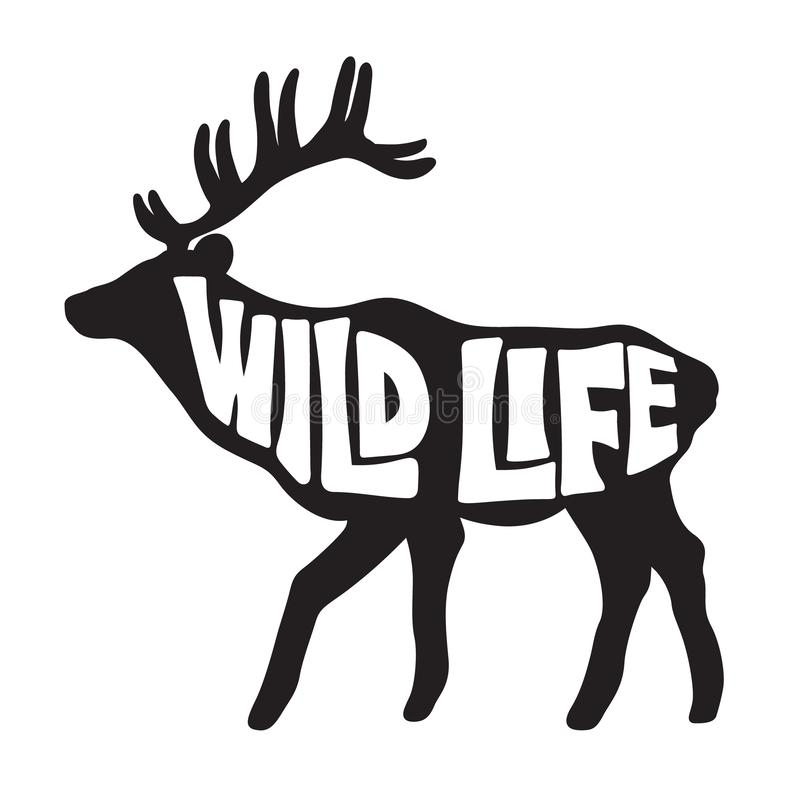 Background with deer and text. Wild life vector illustration