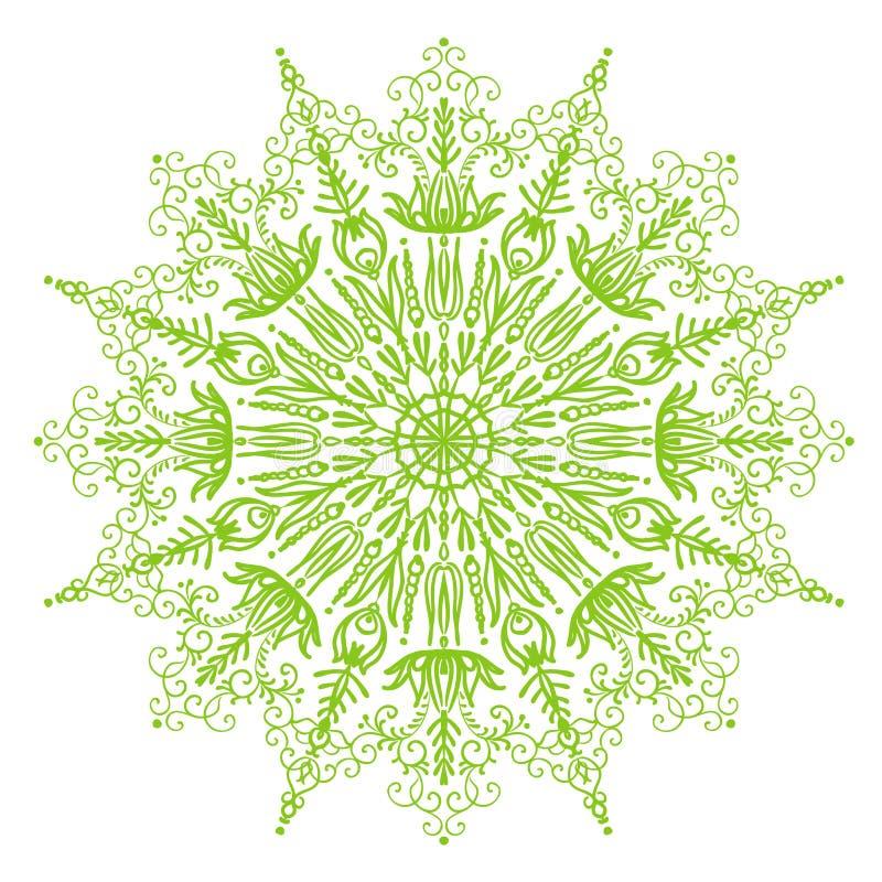 Background delicate light green spring circular mandala illustration stock illustration