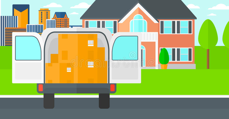 Background of delivery truck with an open door and cardboard boxes in front of house. stock illustration