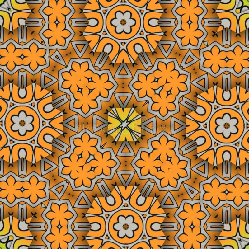 Background  design abstract and digital art. Color abstract digital art orange   flowers royalty free illustration
