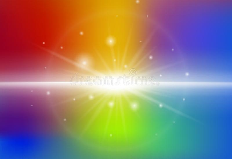 Background design with beam light on rainbow background stock illustration
