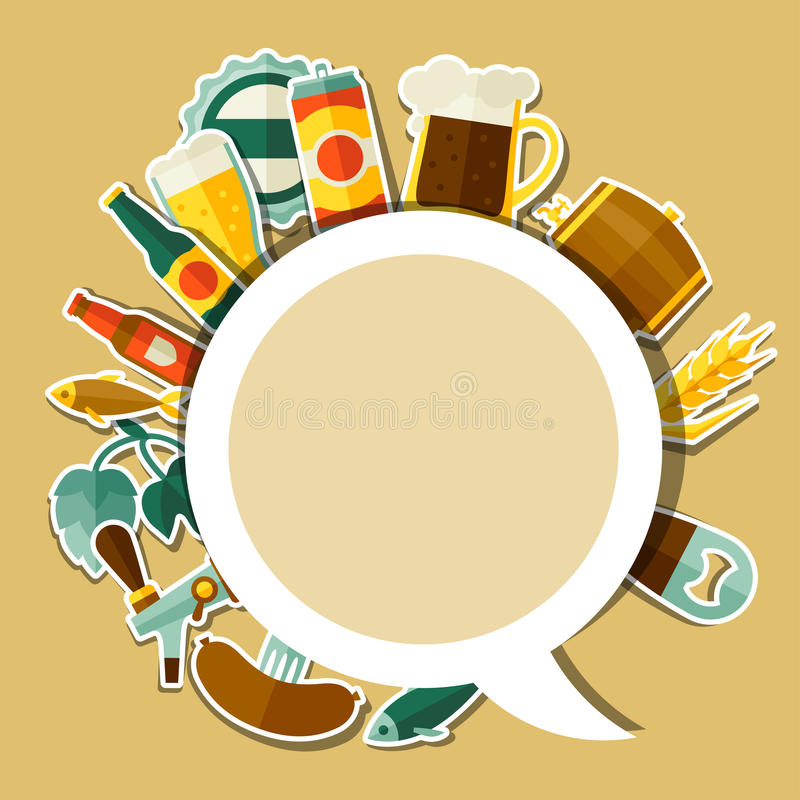 Download background design with beer sticker icons and stock vector illustration of background brewery