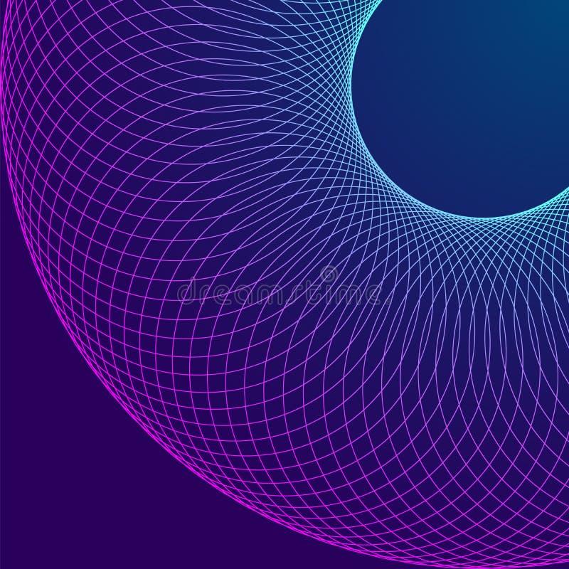 Background Design Element Circular Wire Mesh Digital Circles Lin royalty free illustration