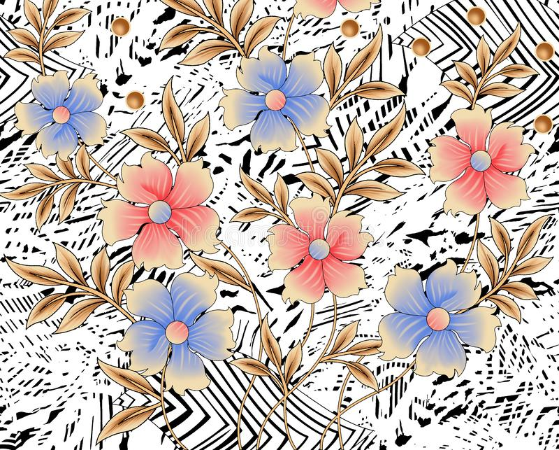 Background design with flower and leaves. Fabric print design stock illustration