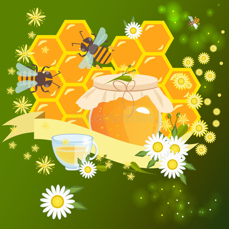 Bee Farm Vintage Isolated Label:  Vintage Frame With Honey Label Stock Vector