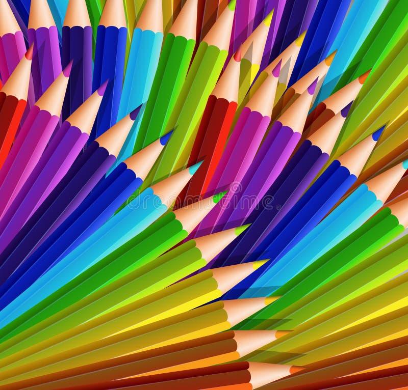Background design with lots of color pencils. Illustration vector illustration