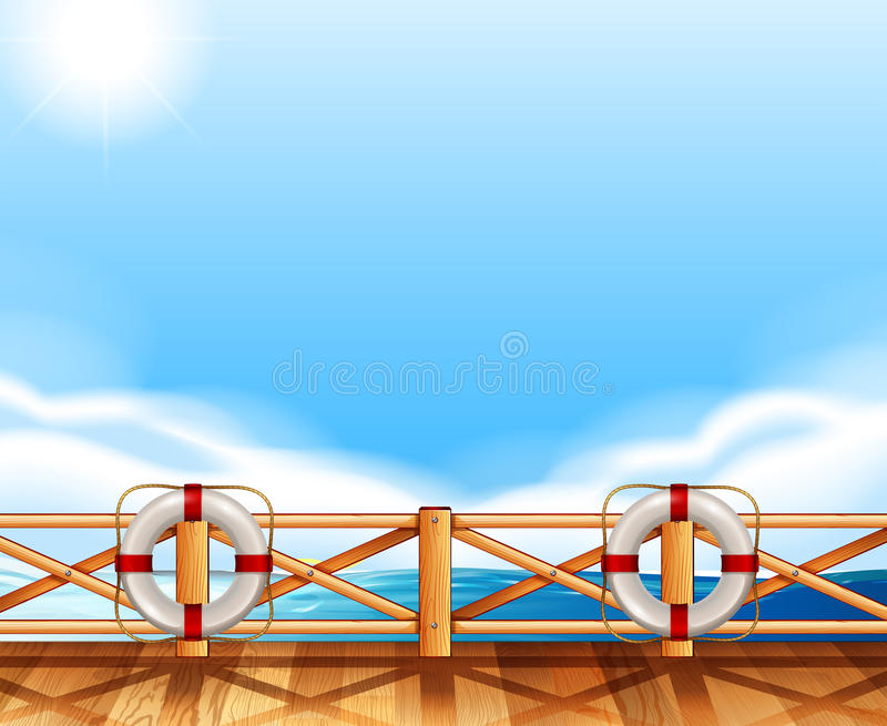 Download Background Design With Ocean And Deck Stock Illustration - Illustration: 82994618