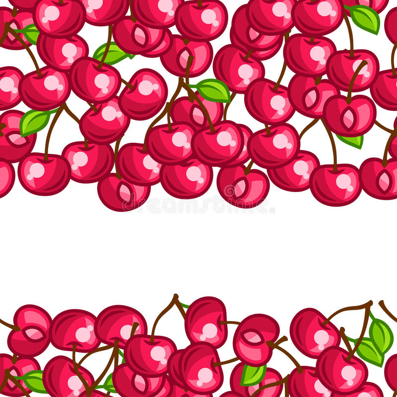 Background design with stylized fresh ripe. Cherries royalty free illustration