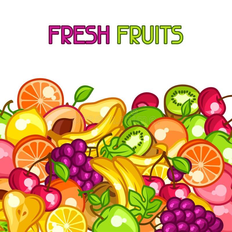 Background design with stylized fresh ripe fruits.  stock illustration