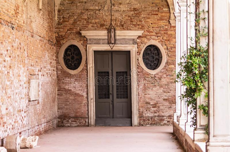 Background with details of worked stones or walls. stone is one of the first materials used by man. details shot in an art institu. Te in Venice stock photo