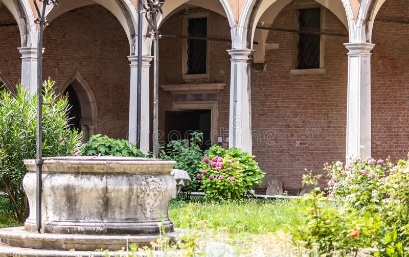 Background with details of worked stones or walls. stone is one of the first materials used by man. details shot in an art institu. Te in Venice royalty free stock photography